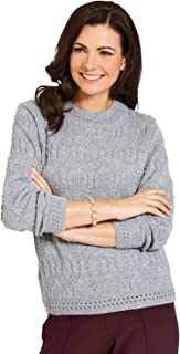 Ladies Womens Cosy Knit Cable & Diamond Design Jumper