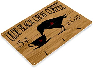 Tinworld Tin Sign Olde Black Crow Coffee Rustic Store Metal Sign Decor Kitchen Cottage Cave B001