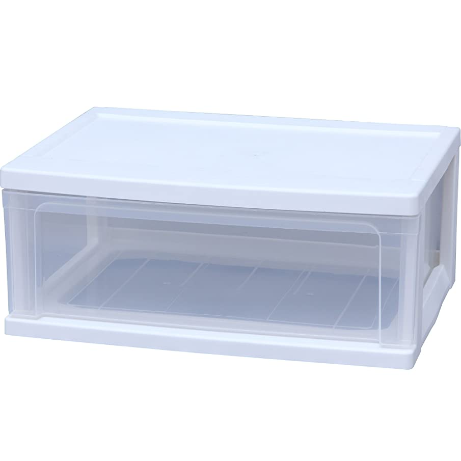 派生する温度涙アイリスオーヤマ チェスト ワイド 1段 幅54×奥40×高さ22.5cm ホワイト / クリア 白 プラスチック W-541