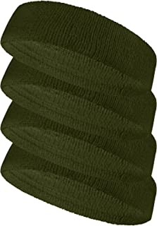 COUVER Terry Solid Color Headband/Sweatband - 4 Pieces
