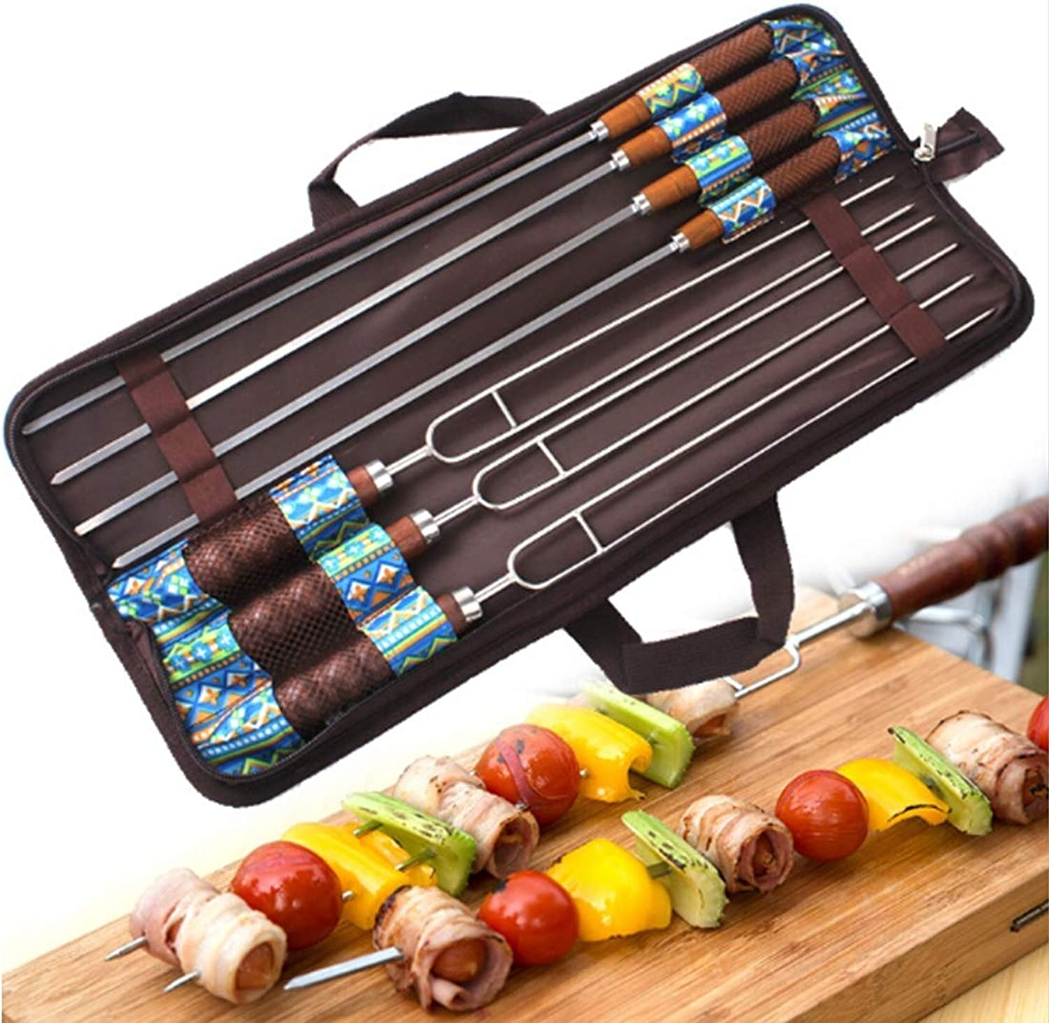 VAXT Direct Outdoor Picnic Stainless Steel BBQ Bake Needle Barbecue Fork UShaped Environmental Wooden Handle 7 Piece Set