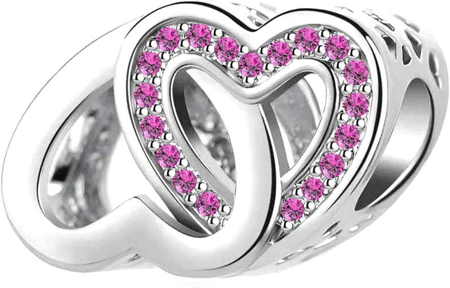 DWJSu Entwined Hearts Birthstone Crystal Heart Charm for Charms Bracelets Cheap Necklace For Women Gift