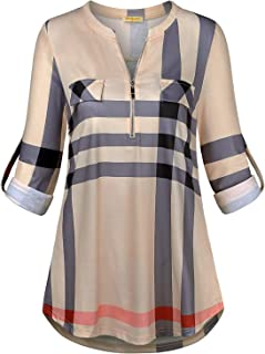 Baikea Women's 3/4 Rolled Sleeve Zipped V Neck Plaid Shirt Casual Tunic Blouses