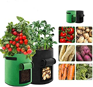 YonHeart Garden Plant Bags Grow Plants Pots 2020 New Updated Non-Woven Fabric 7 Gallon for Vegetables and Fruits 2 Packs B...