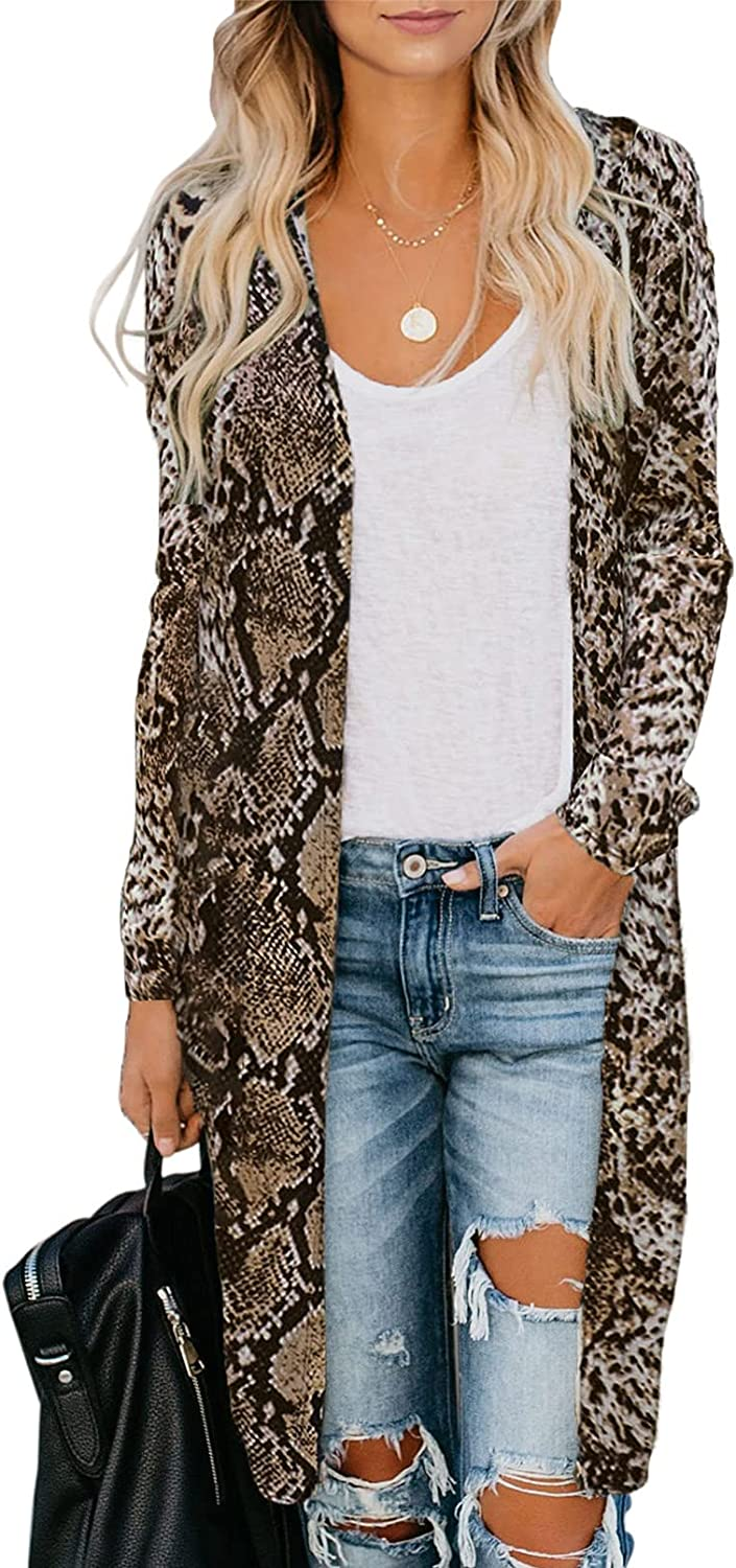 Dokotoo Womens 2021 Fashion Casual Open Front Printed Cardigans Sweaters Thin Coats Jackets Outerwear