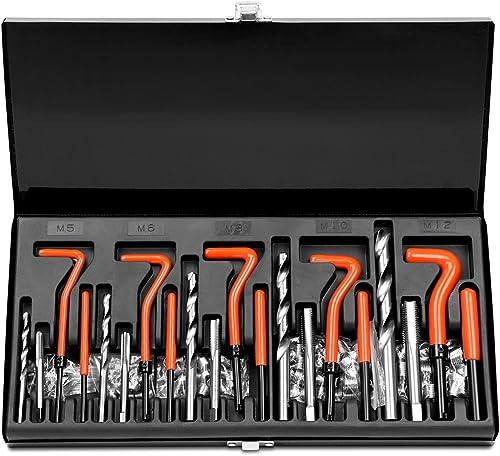 wholesale HORUSDY 131Pc Thread Repair outlet sale wholesale Kit, HSS Drill Helicoil Repair Kit Metric M5 M6 M8 M10 M12 (Black) online sale