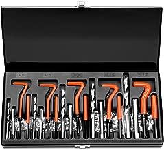 HORUSDY 131Pc Thread Repair Kit, HSS Drill Helicoil Repair Kit Metric M5 M6 M8 M10 M12 (Black)