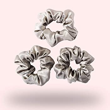 ZIMASILK 100% Mulberry Silk Hair Scrunchies,Best For Women And Girls'Hair,Elastic Hair Bands For Ponytail Holder.Gentle And No Hurt. (3 Pack,Taupe)
