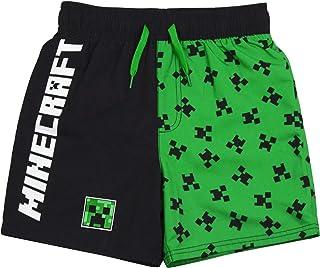 Minecraft Swim Shorts for Boys | Green Creeper Gamer Swimming Pants Trunks with Drawstring Waistband | Kids Teens Swimwear
