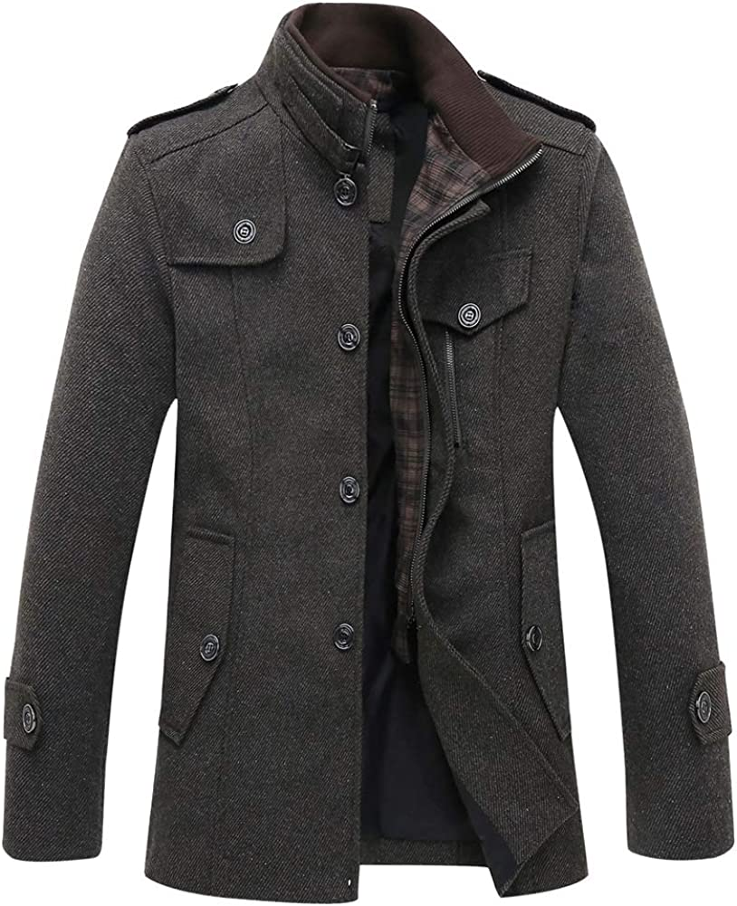 Liveinu Men's Pea Coat Wool Blend Stand Collar Winter Coat Single Breasted Military Jacket