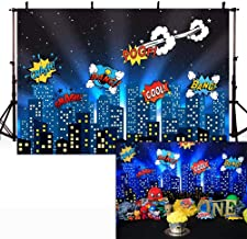 COMOPHOTO Superhero Theme Photography Backdrop City Night Scene Photo Backdrops 7x5ft Birthday Party Decoration Background for Pictures
