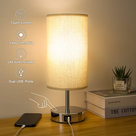 Kakanuo - Lampe de chevet tactile, lampe de table, ronde à LED E27 à intensité variable de 5 W avec ports de charge USB utiles, moderne pour bureau de salon, de chambre à coucher