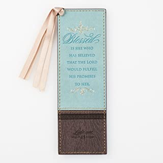 Blessed is She Who Has Believed Two-Toned Robin's Egg Blue and Brown LuxLeather PageMarker/Bookmark, Luke 1:45