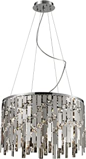 Elk 82035/9 19 by 47-Inch Kingshill 9-Light Crystal Pendant Lamp with Clear Crystal, Polished Chrome Finish