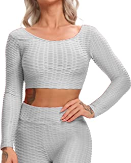 Women Textured Gym Workout Shirts Hollow Yoga Crop Top Removable Pad Sport Bra