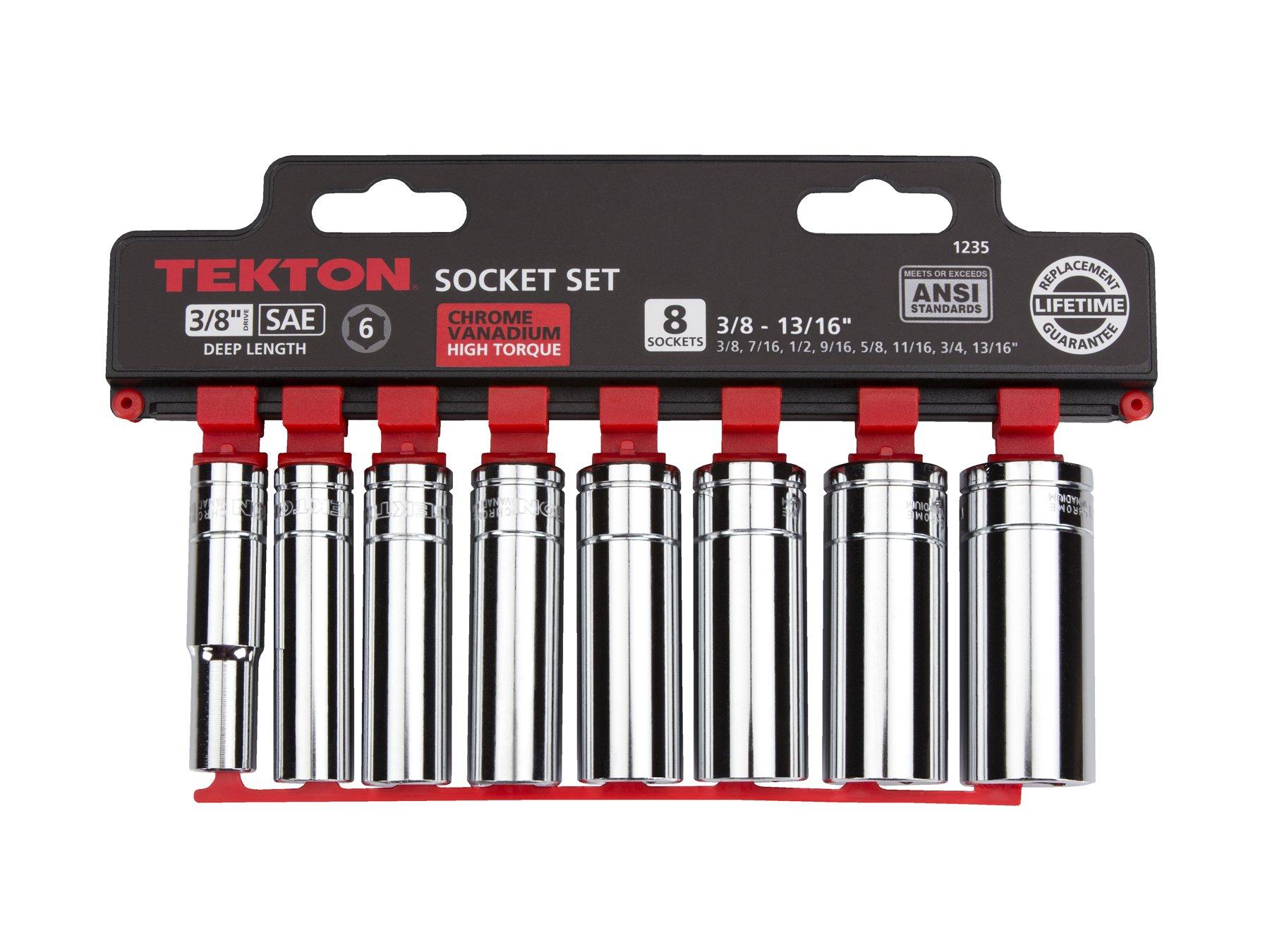 TEKTON 3/8-Inch Drive Deep Socket Set, Inch, Cr-V, 3/8-Inch - 13/16-Inch, 8-Sockets | 1235