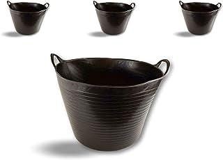 Seau bassine panier souple | Ø45-36 litres - Noir | Lot de 3 | Récipient multifonction polyéthylène plastique flexible rés...