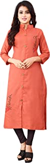 OM SAI LATEST CREATION Slub-Rayon Three-Fourth Sleeve Printed A-Line Kurti for Women
