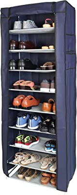 WowObjects 9 Layers Portable Multi-Utility DIY Foldable Storage Shoe Rack For Home(Purple)