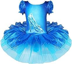 TiaoBug Girls Short Sleeve Crystal Shoes Print Gymnastics Ballet Dance Leotard Tutu Skirted Dress Princess Dancewear Costume