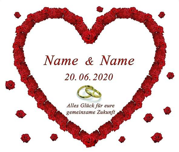 Personalisiertes Hochzeitsherz zum Anschneiden für das Hochzeitsspiel