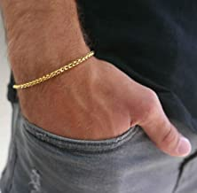Handmade Cuff Chain Bracelet For Men Made Of Gold Plated Over Stainless Steel By Galis Jewelry - Gold Bracelet For Men - Cuff bracelet For men - Jewelry For Men