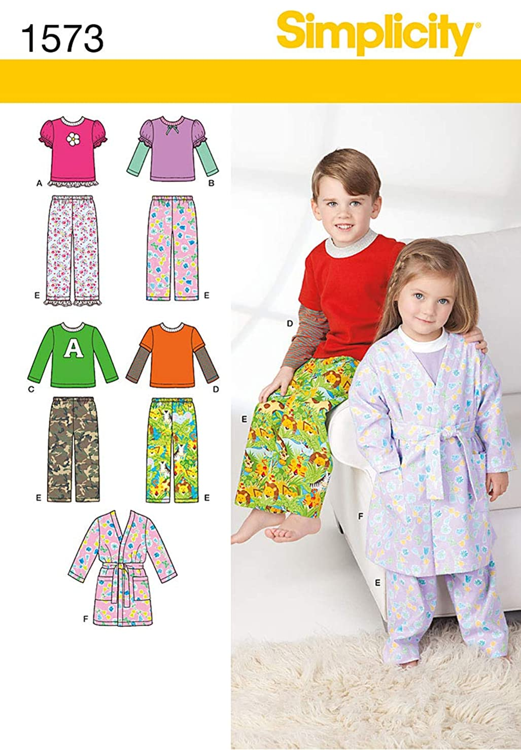 Simplicity Creative Patterns 1573 Toddlers' and Child's Loungewear, BB (4-5-6-7-8)