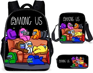 ZBK Game AMONG US Theme Laptop Backpack,School Bags Set With Shoulder Bag And Pencil Case For Boys And Girls-9 Colors