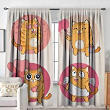 Sillgt Kitty Window Curtains Cartoon Cats Illustration Kitten in Love Painting a Heart Carrying Romantic Balloons Room Darkening, Noise Reducing W 72