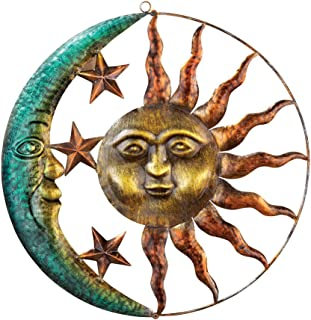 Collections Etc Artistic Sun and Moon Metal Wall Art for Indoors or Outdoors with Rustic..