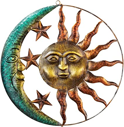 Collections Etc Artistic Sun and Moon Metal Wall Art for Indoors or Outdoors with Rustic Finish, Brown