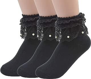 VIVIKI Womens Lace Ruffle Socks Girls Lace Socks Pearl Socks A06