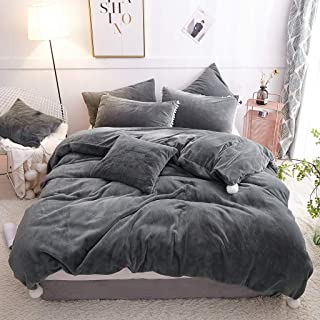 LIFEREVO Luxury Faux Fur Bedding Set Rabbit Hair Duvet Cover Set Large Pompoms Decorative, Zipper Closure (King, Dark Gray)