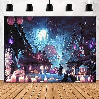 Aperturee 7x5ft Halloween Backdrop Haunted Castle Witch Wizard Scary Full Moon Night Pumpkin Lantern Photography Backgroun...