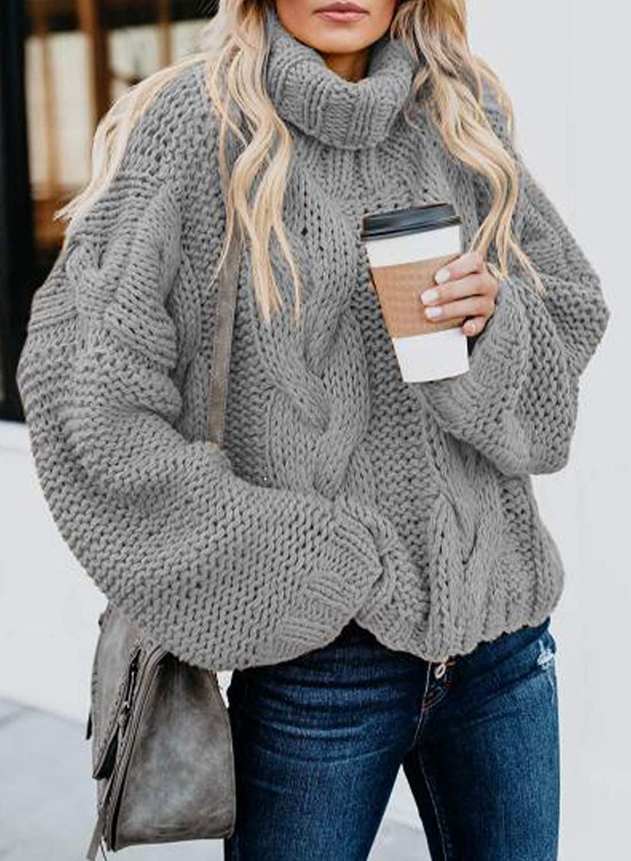 Modasua Damen Strickpullover Oversize Pullover Grobstrickpullover Sweatshirt Langarmshirt Rollkragen Casual Winter Kleid Übergroß Top Gray