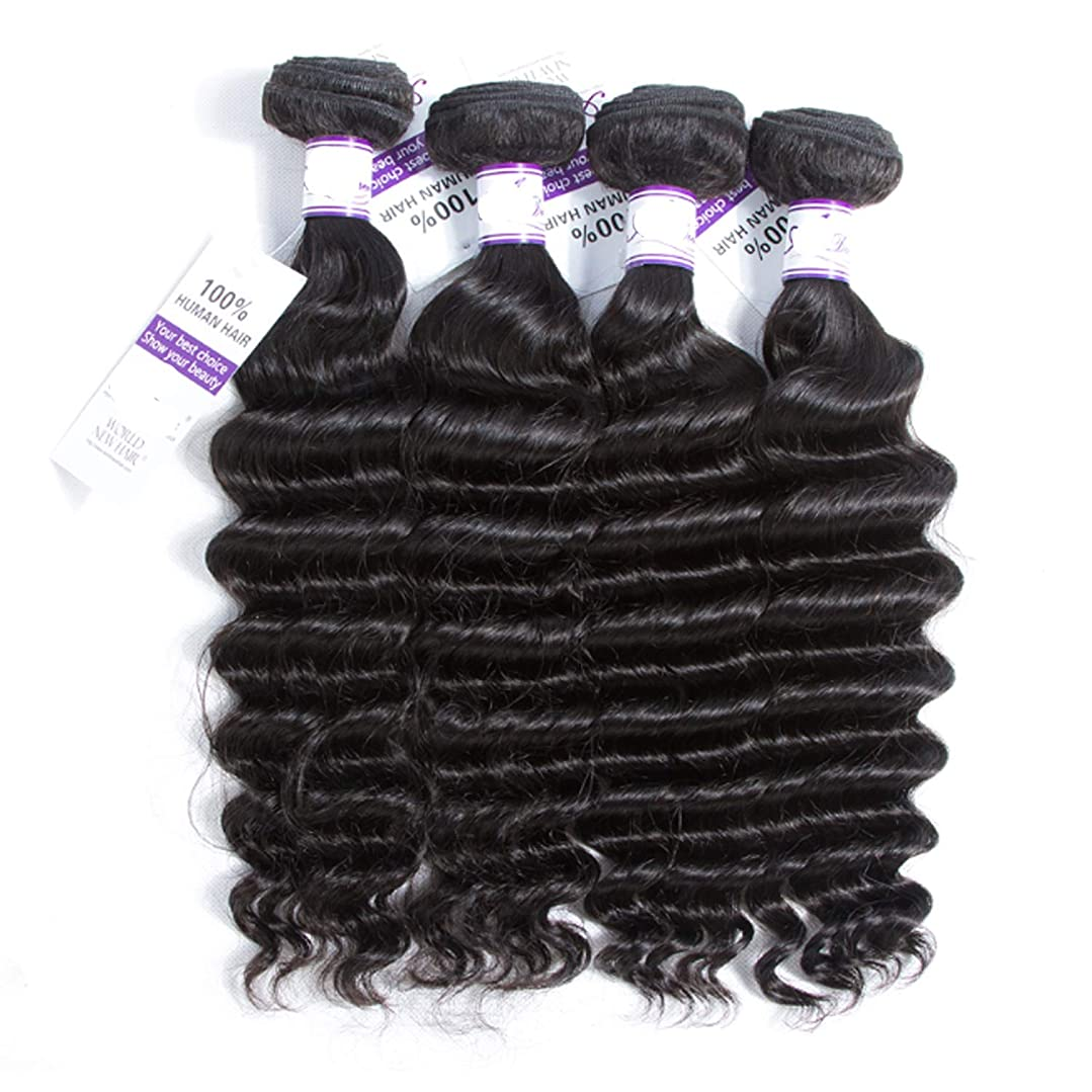 兄弟愛メダル力ブラジルルースウェーブヘアー人間の髪の毛の束非レミーの毛延長ナチュラルブラック4個 (Length : 22 24 26 28)