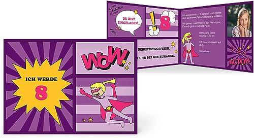 greetinks 40 x Einladungskarten Kindergeburtstag 'Comic Held' in lilat   Personalisierte Geburtstagskarten zum selbst gestalten   40 Stück Einladungen Kinder Geburtstag - Jungen & mädchen