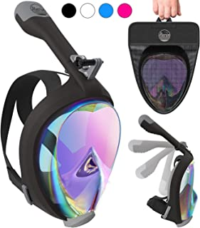 Aleoron - Foldable Full Face Snorkel Mask for Adults and Youth (Women & Men) - Anti Fog Full Face Snorkeling Mask with Action Camera Mount - Dive Mask UV Panoramic 180 Seaview Diving Mask Set