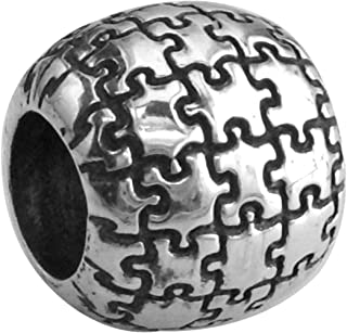 Autism Awareness Puzzle Piece Charm Bracelet Bead in 14K White Gold