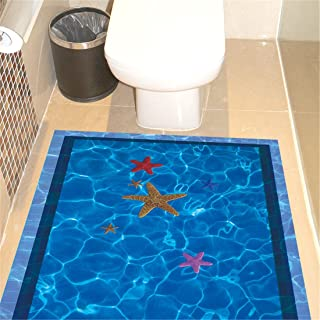 IndButy Wall Stickers 3D 3D Wall Stickers Paper Stickers Bathroom WC Tile Flooring Wall Stickers Blue Pool Pool 3D Swimming Pool