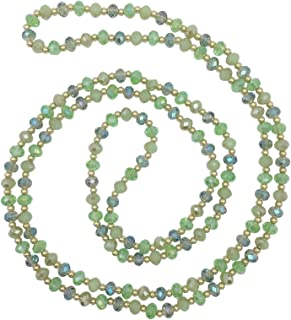 Long All Glass Beveled Beaded Simple Necklace