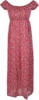 fitibest Women's Short Sleeve Boho Swing Off Shoulder Floral Print Party Long Maxi Beach Dress (L, Red)