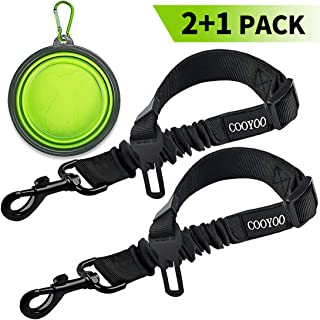 COOYOO Dog Seat Belt,2 Pack Pet Car Seat Belts Adjustable Heavy Duty & Elastic Vehicle Dog Safety Belt Harness for Travel Daily Use - Compatible with Any Pet Harness