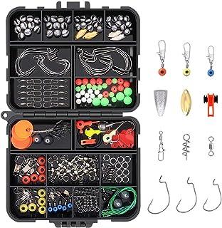 Vicloon fisketillbehörssats, 191 st fiskedrag box-set, inkluderar fiskekrokar, fiskemugg, fiskedömningsvikter, snappar, gl...