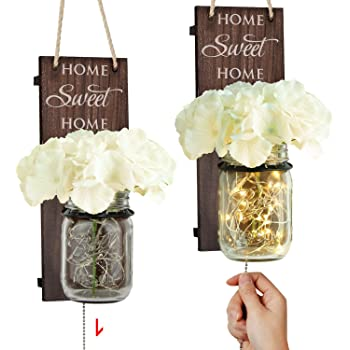TJ.MOREE Rustic Wall Sconce - Mason Jar Wall Sconce, Rustic Home Decor with Pull Chain Switch, Silk Hydrangea and LED Strip Lights Design for Home Decoration (Set of 2)