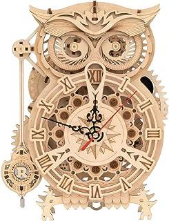 ROKR 3D立体パズル 木製 ふくろう 振り子時計 機械モデル 手作り 目覚まし時計 子供 おもちゃ かわいいフクロウ めざまし電池式 置き時計 知育玩具 男の子 女の子 誕生日 プレゼント 贈り物