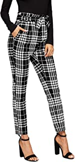 Women's Plaid Print Pants Self Tie Belt Soft Skinny Basic Leggings