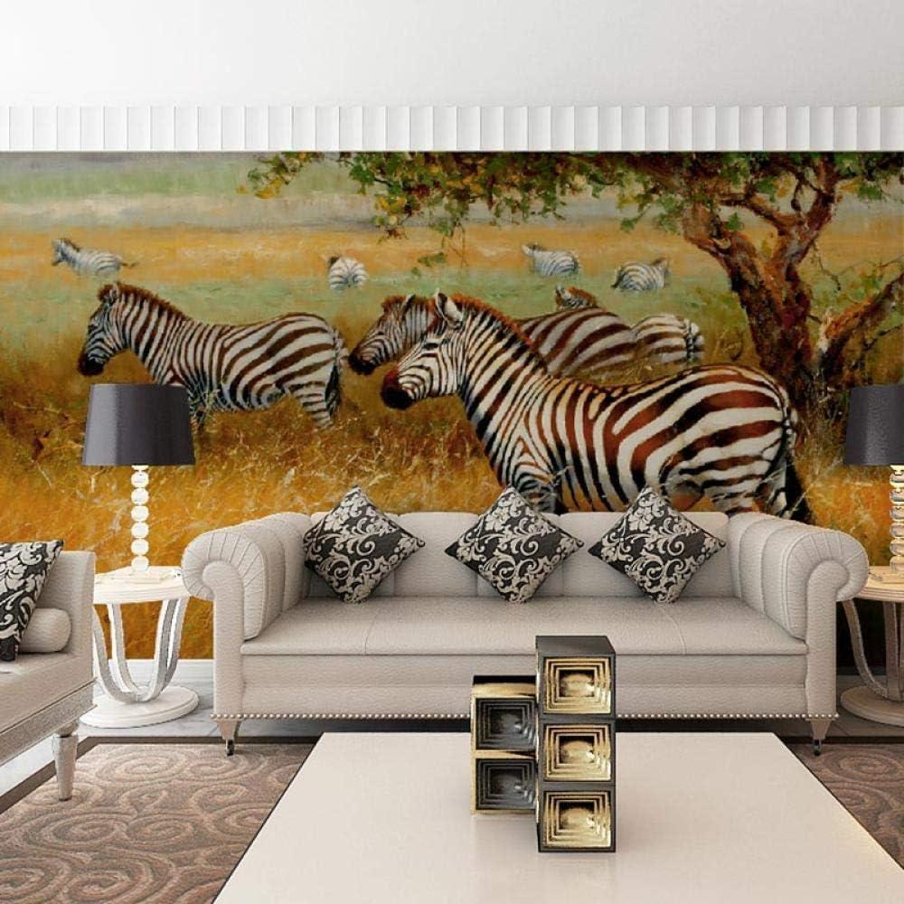 3D New color Custom Silk Wallpaper Prairie Painting Landscape Mural Finally resale start Zebra