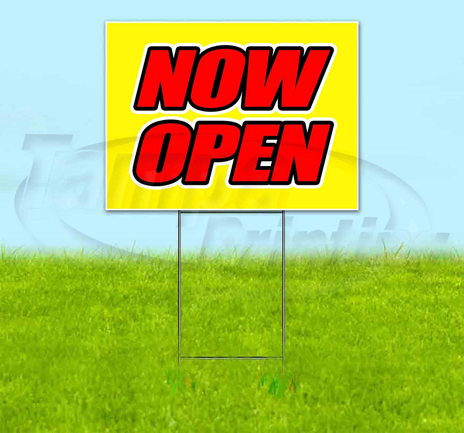 Now Open Yellow Background Genuine Free Shipping 18