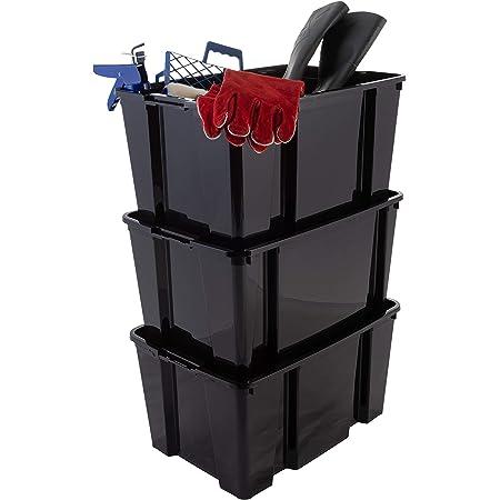 Iris Ohyama, Lot de 3 boîtes / bacs de rangement empilables pour articles de bricolage - Hobby Box - HB-45, plastique, noir, 45 L, 55,7 x 39 x 28 cm